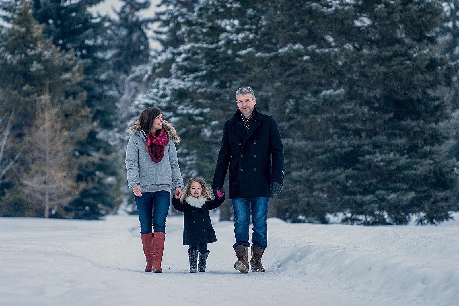 Wintery family walk portrait