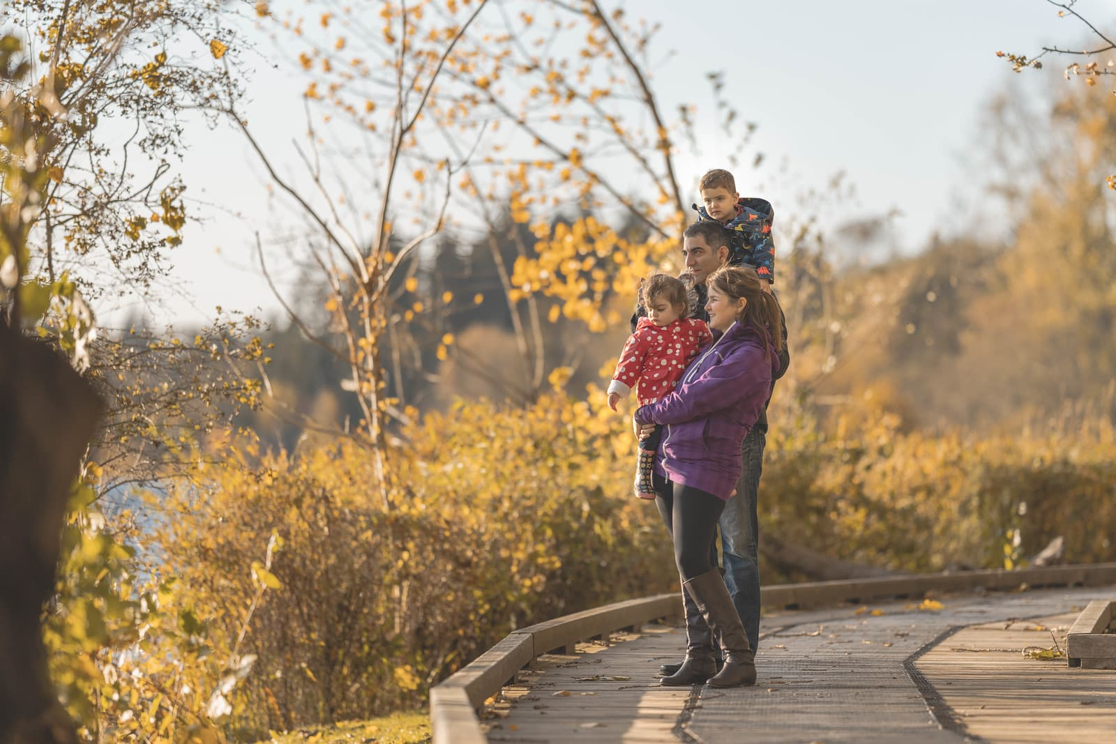 Fall photo session with young family