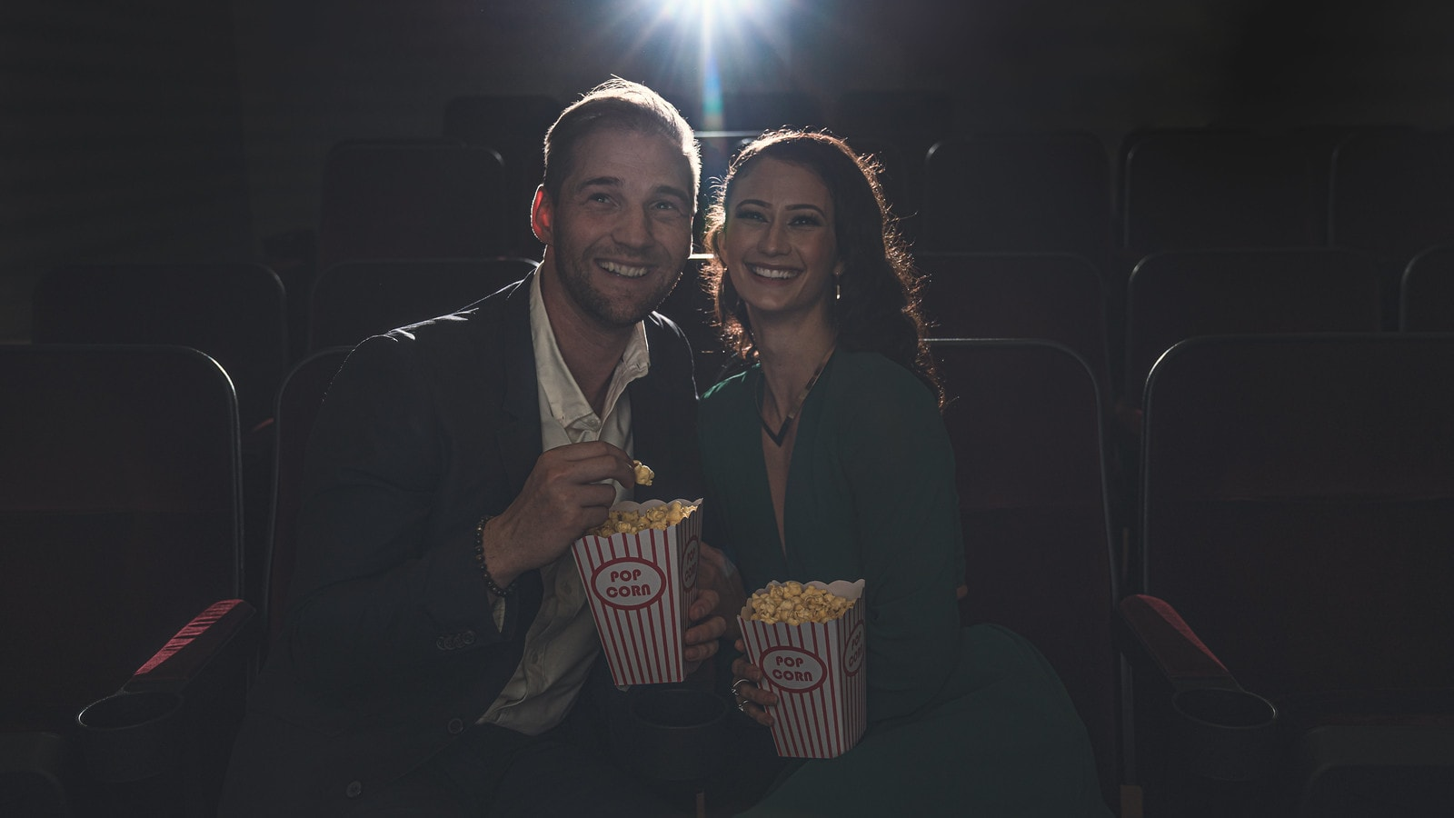 Young couple at the movies