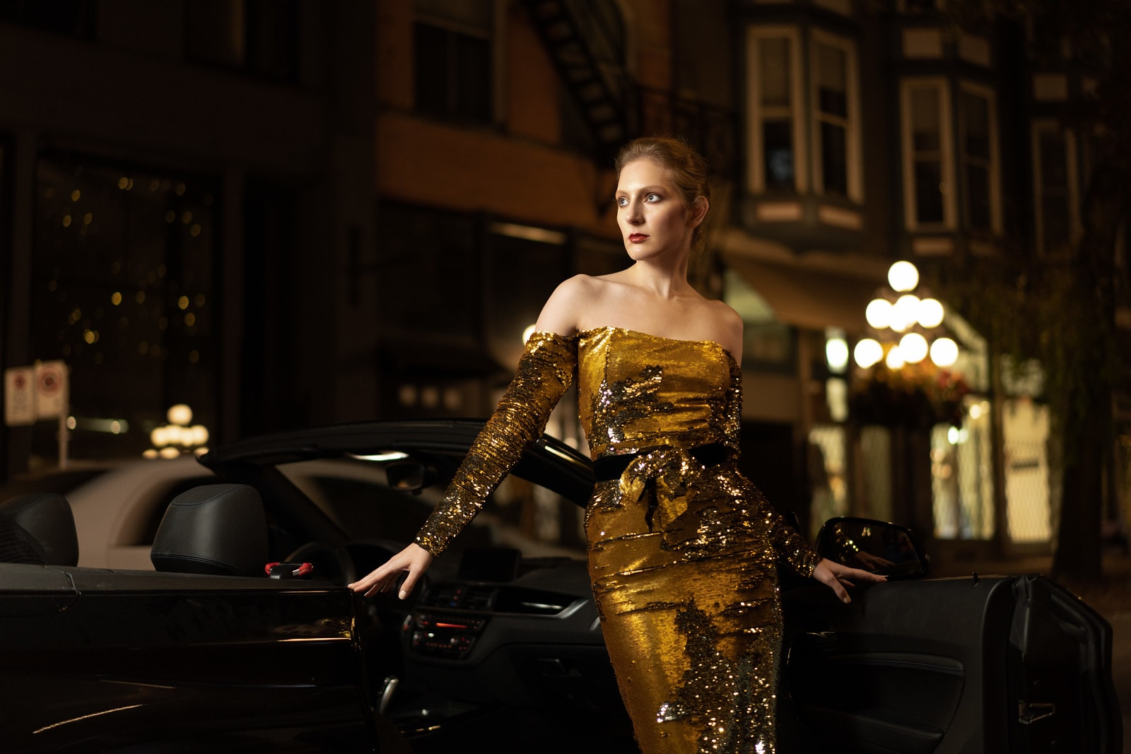 Portrait of woman in gold