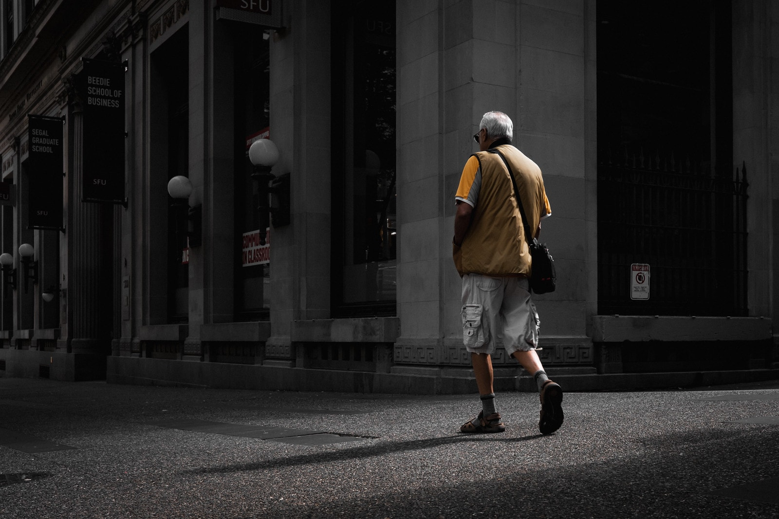Man taking a stroll in Vancouver
