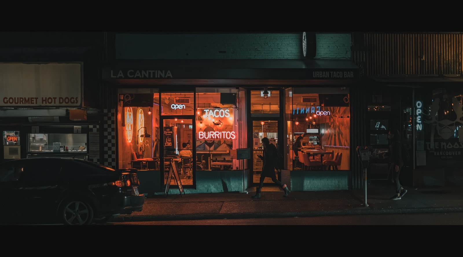 Exterior shot of Mexican restaurant at night