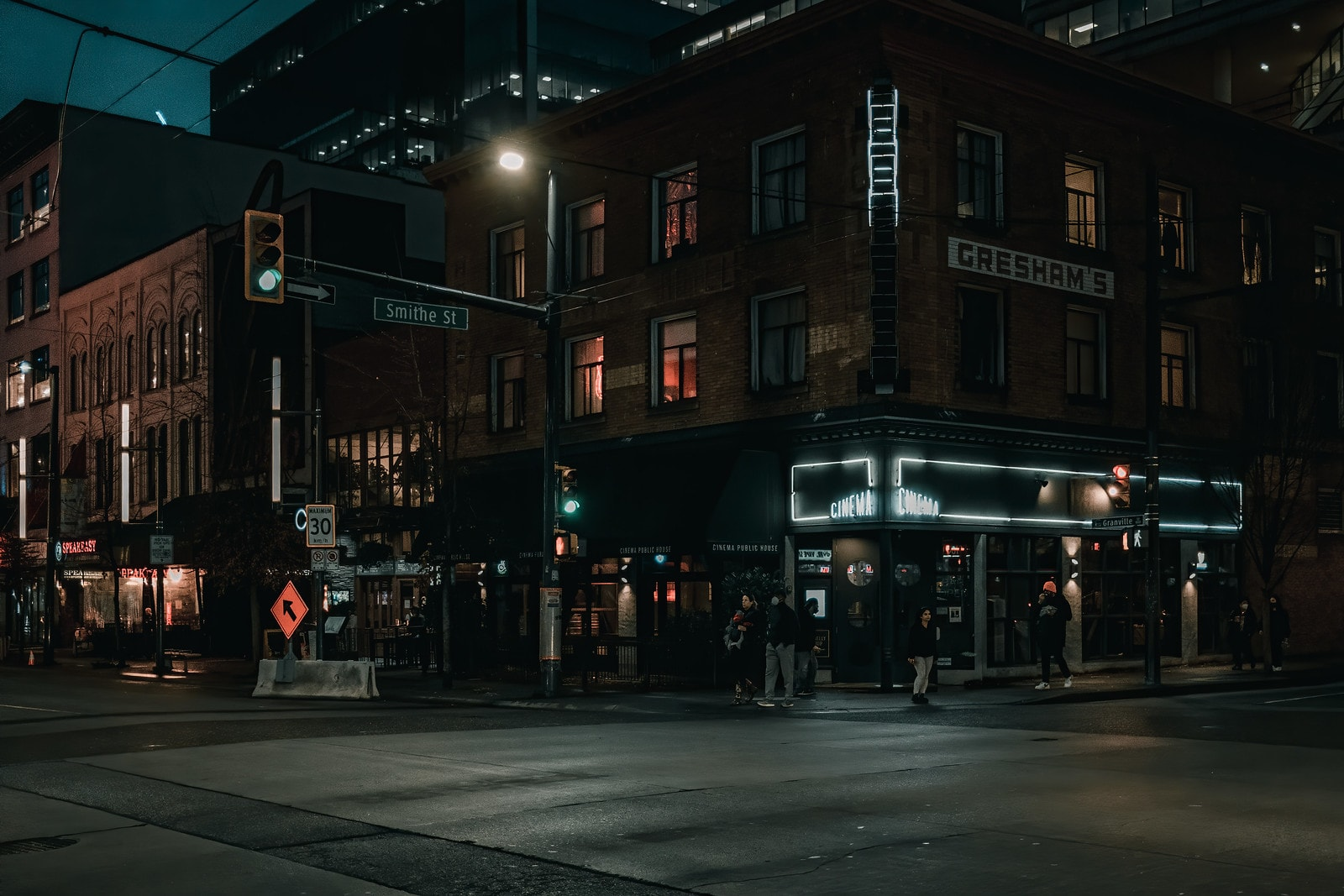 Night shot in downtown Vancouver