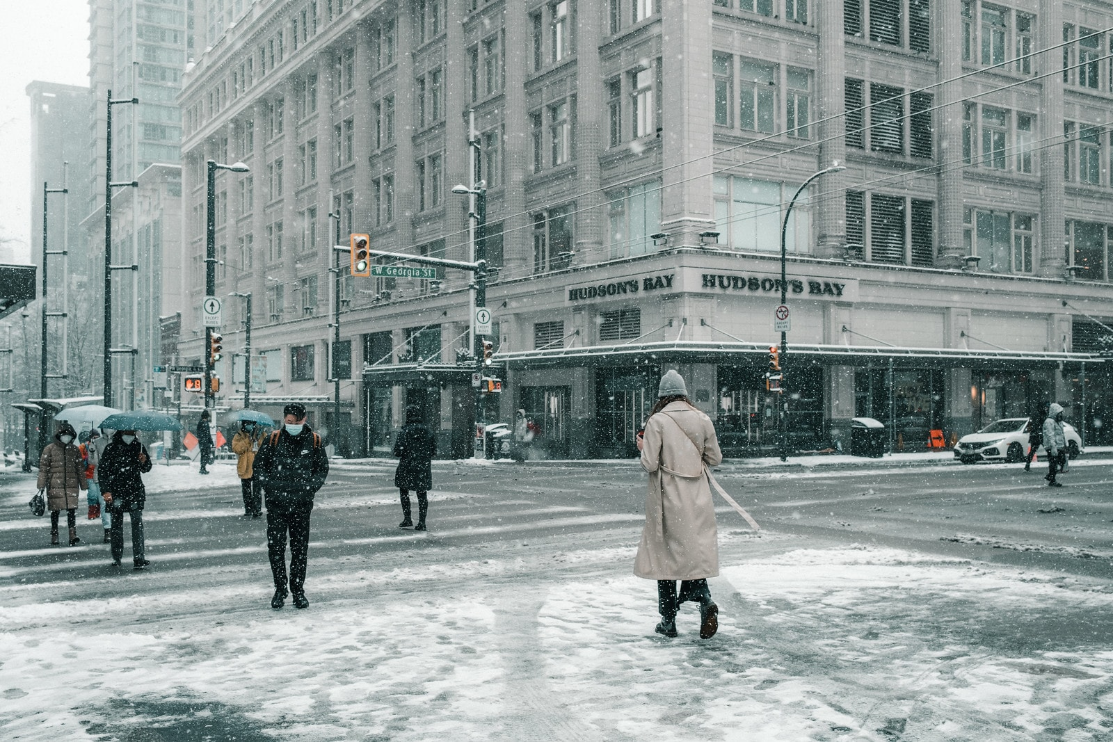 Wintery scene downtown Vancouver