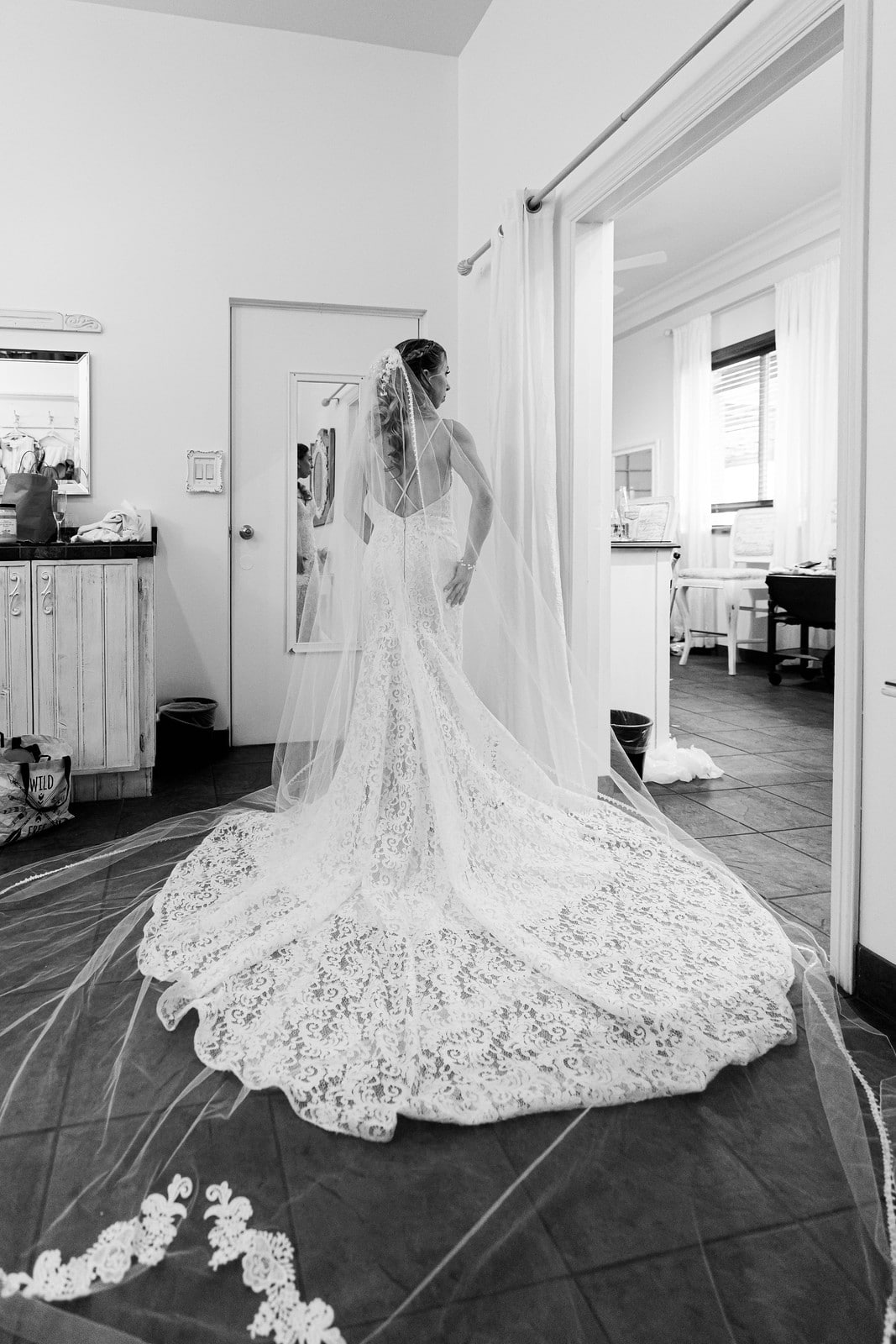 Bridal gown and spectacular train
